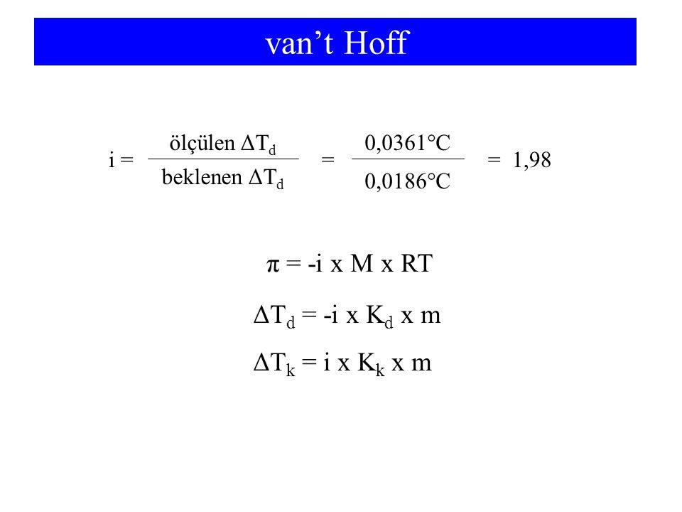 van't Hoff ΔT d = -i x K d x m i = == 1,98 ölçülen ΔT d ΔT k = i x K k x m beklenen ΔT d 0,0361°C 0,0186°C π = -i x M x RT