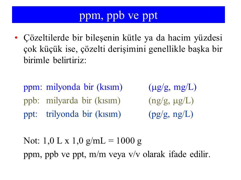 ppm, ppb ve ppt Çözeltilerde bir bileşenin kütle ya da hacim yüzdesi çok küçük ise, çözelti derişimini genellikle başka bir birimle belirtiriz: ppm:milyonda bir (kısım) (  g/g, mg/L) ppb:milyarda bir (kısım)(ng/g,  g/L) ppt:trilyonda bir (kısım)(pg/g, ng/L) Not: 1,0 L x 1,0 g/mL = 1000 g ppm, ppb ve ppt, m/m veya v/v olarak ifade edilir.
