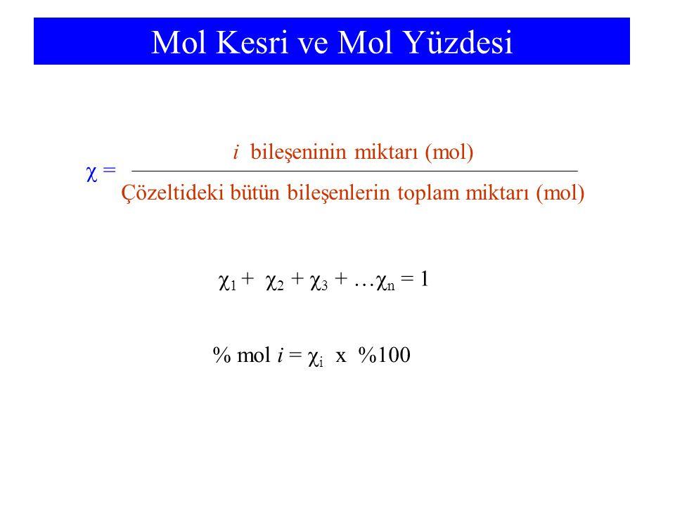 Molarite ve Molalite Molarite (M) = Çözünen miktarı (mol) Çözeltinin hacmi (L) Molalite (m) = Çözünen miktarı (mol) Çözücünün kütlesi (kg)