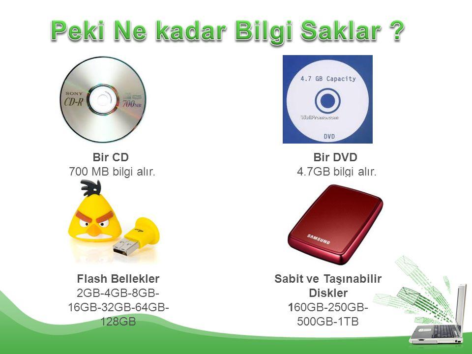 Bir CD 700 MB bilgi alır. Bir DVD 4.7GB bilgi alır. Flash Bellekler 2GB-4GB-8GB- 16GB-32GB-64GB- 128GB Sabit ve Taşınabilir Diskler 160GB-250GB- 500GB