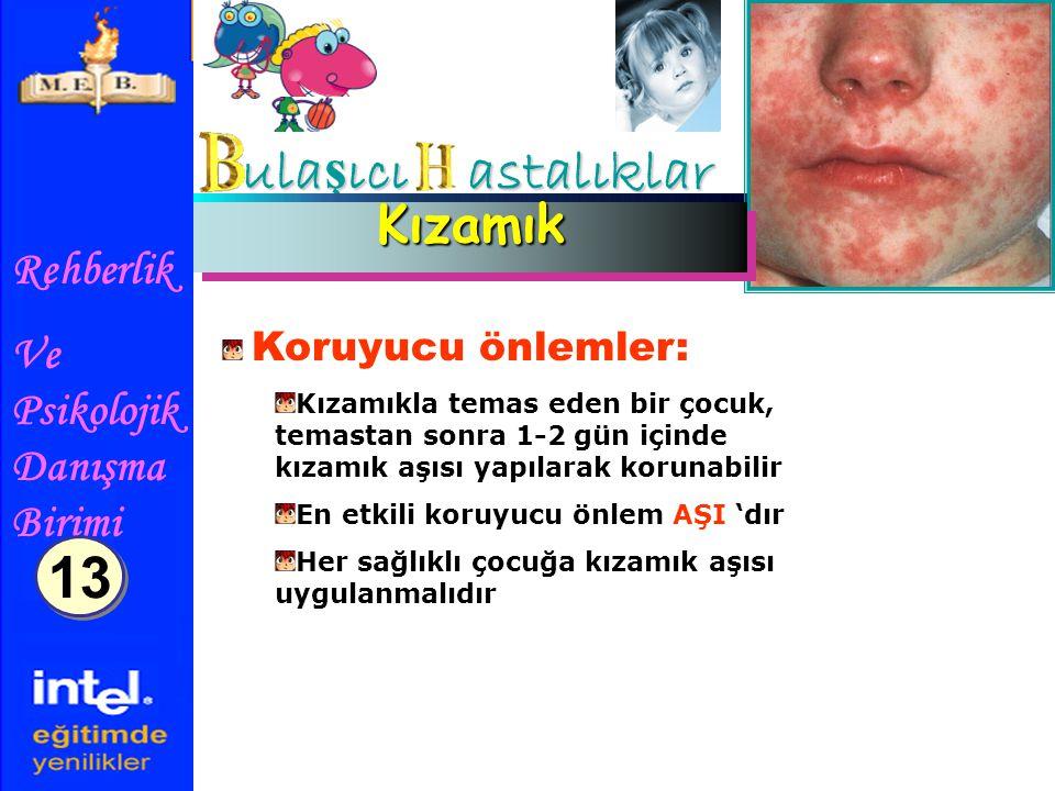 Rehberlik Ve Psikolojik Danışma Birimi ula ş ıcı astalıklar KızamıkKızamık Koruyucu önlemler: Kızamıkla temas eden bir çocuk, temastan sonra 1-2 gün i