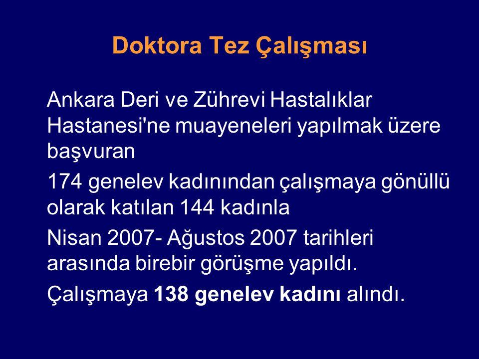 Doktora Tez Çalışması Ankara Deri ve Zührevi Hastalıklar Hastanesi'ne muayeneleri yapılmak üzere başvuran 174 genelev kadınından çalışmaya gönüllü ola