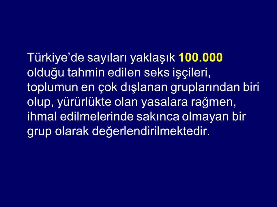 Türkiye'de sayıları yaklaşık 100.000 olduğu tahmin edilen seks işçileri, toplumun en çok dışlanan gruplarından biri olup, yürürlükte olan yasalara rağ