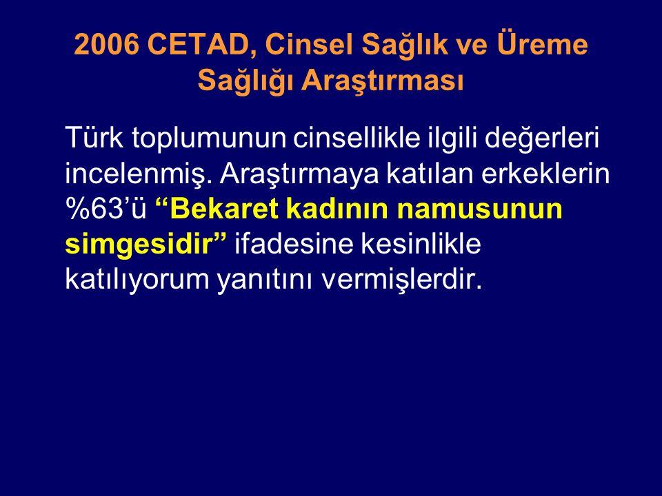 """2006 CETAD, Cinsel Sağlık ve Üreme Sağlığı Araştırması Türk toplumunun cinsellikle ilgili değerleri incelenmiş. Araştırmaya katılan erkeklerin %63'ü """""""