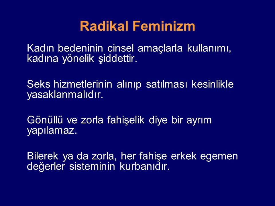 Radikal Feminizm Kadın bedeninin cinsel amaçlarla kullanımı, kadına yönelik şiddettir. Seks hizmetlerinin alınıp satılması kesinlikle yasaklanmalıdır.
