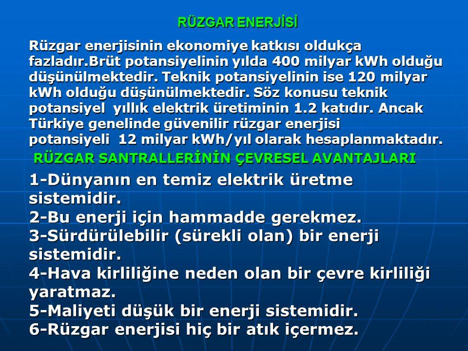 RÜZGAR ENERJİSİ Rüzgar enerjisinin ekonomiye katkısı oldukça fazladır.Brüt potansiyelinin yılda 400 milyar kWh olduğu düşünülmektedir. Teknik potansiy