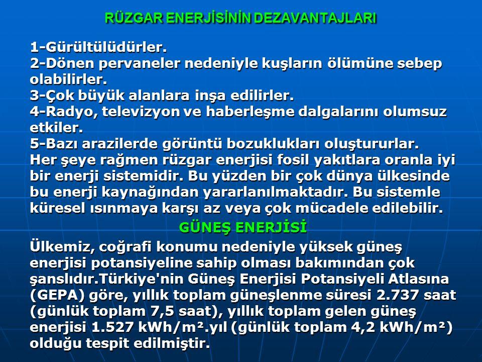 Güneş Enerjisinin Avantajları Bol ve tükenmeyen bir kaynaktır.Çevreye zarar vermez.Dünyanın her yerinde kullanabilir.Maliyetleri düşüktür.