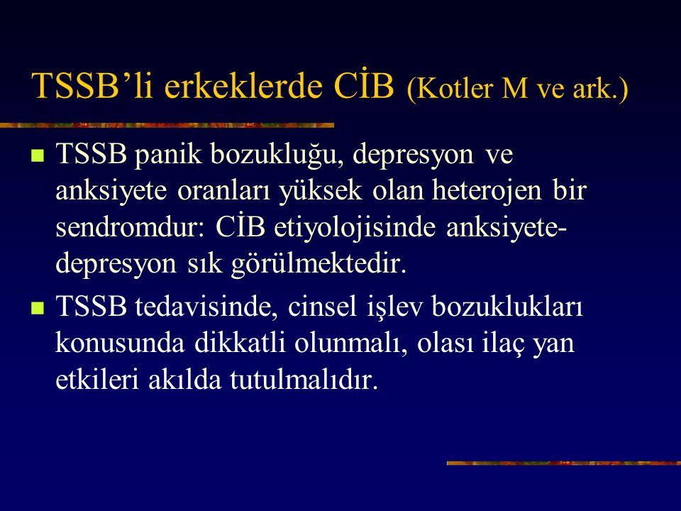 TSSB'li erkeklerde CİB (Kotler M ve ark.) TSSB panik bozukluğu, depresyon ve anksiyete oranları yüksek olan heterojen bir sendromdur: CİB etiyolojisinde anksiyete- depresyon sık görülmektedir.