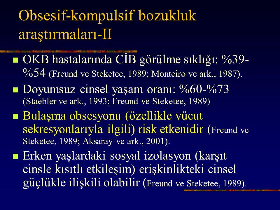 Obsesif-kompulsif bozukluk araştırmaları-II OKB hastalarında CİB görülme sıklığı: %39- %54 (Freund ve Steketee, 1989; Monteiro ve ark., 1987).