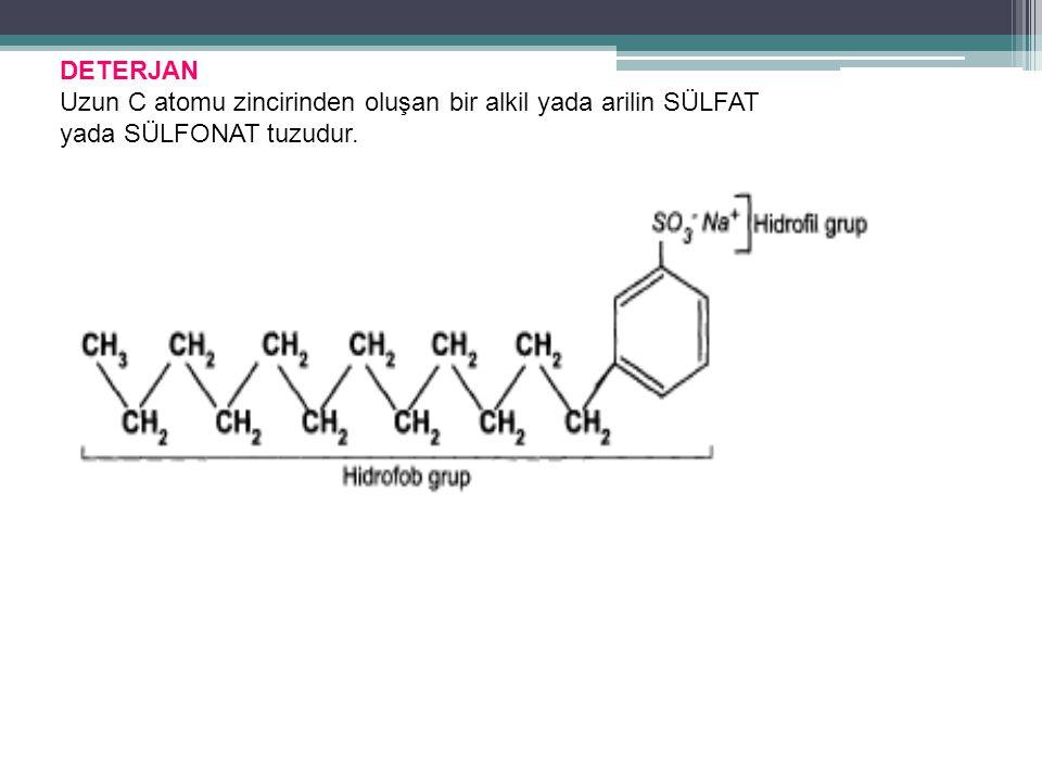 DETERJAN Uzun C atomu zincirinden oluşan bir alkil yada arilin SÜLFAT yada SÜLFONAT tuzudur.