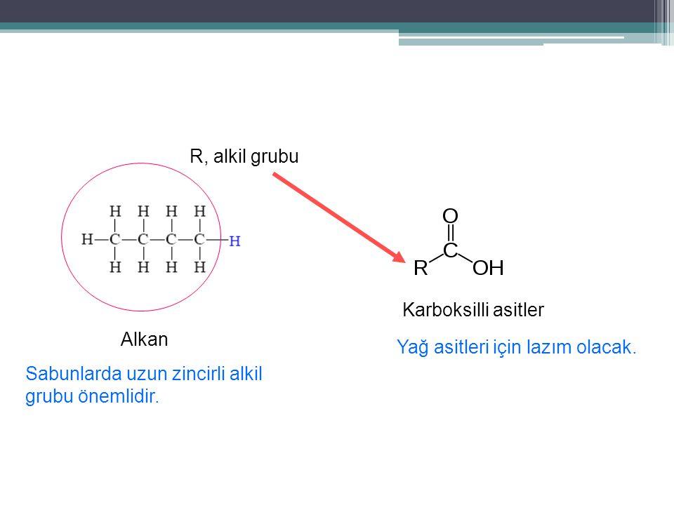 Alkan Karboksilli asitler R, alkil grubu Sabunlarda uzun zincirli alkil grubu önemlidir.