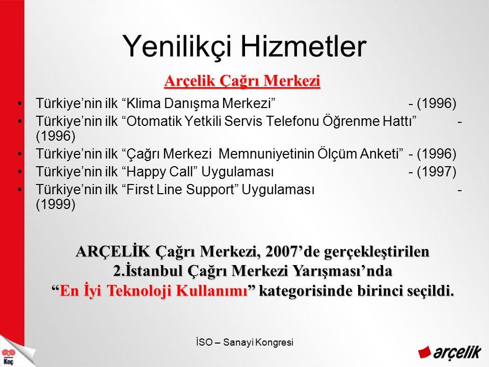 """İSO – Sanayi Kongresi Yenilikçi Hizmetler Türkiye'nin ilk """"Klima Danışma Merkezi""""- (1996) Türkiye'nin ilk """"Otomatik Yetkili Servis Telefonu Öğrenme Ha"""