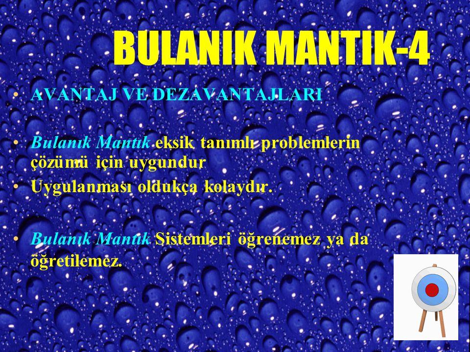 BULANIK MANTIK-3 Bulanık Mantık Yapay Zeka metotları içerisinde en çok endüstriyel uygulama alanı bulan araçtır.