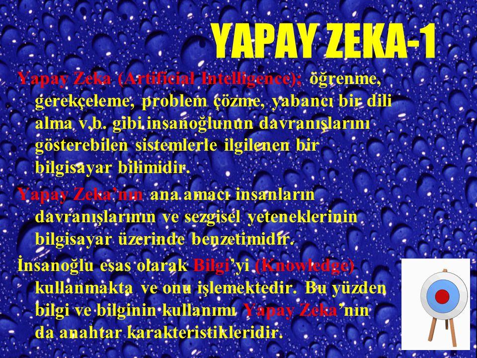YAPAY ZEKA-1 Yapay Zeka (Artificial Intelligence); öğrenme, gerekçeleme, problem çözme, yabancı bir dili alma v.b.