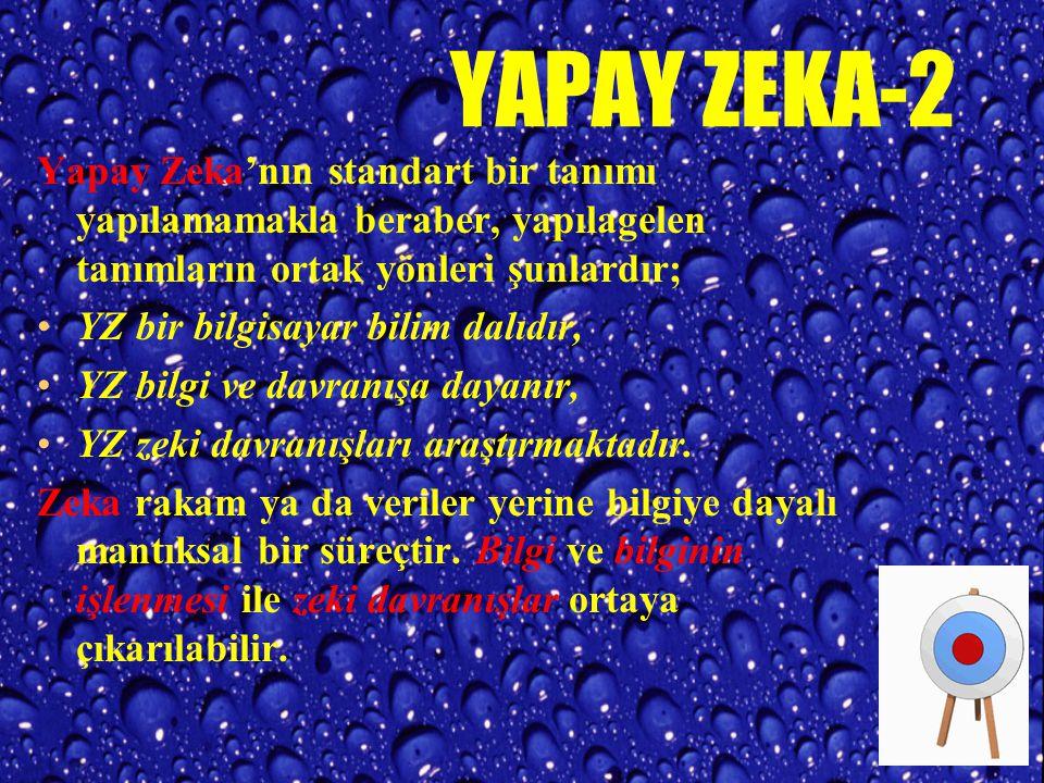 YAPAY ZEKA-1 Yapay Zeka (Artificial Intelligence); öğrenme, gerekçeleme, problem çözme, yabancı bir dili alma v.b. gibi insanoğlunun davranışlarını gö