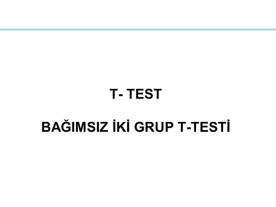 T- TEST BAĞIMSIZ İKİ GRUP T-TESTİ