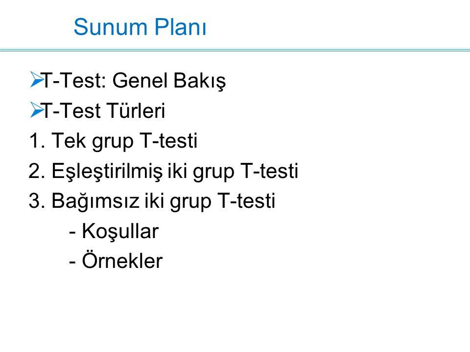 Sunum Planı  T-Test: Genel Bakış  T-Test Türleri 1. Tek grup T-testi 2. Eşleştirilmiş iki grup T-testi 3. Bağımsız iki grup T-testi - Koşullar - Örn