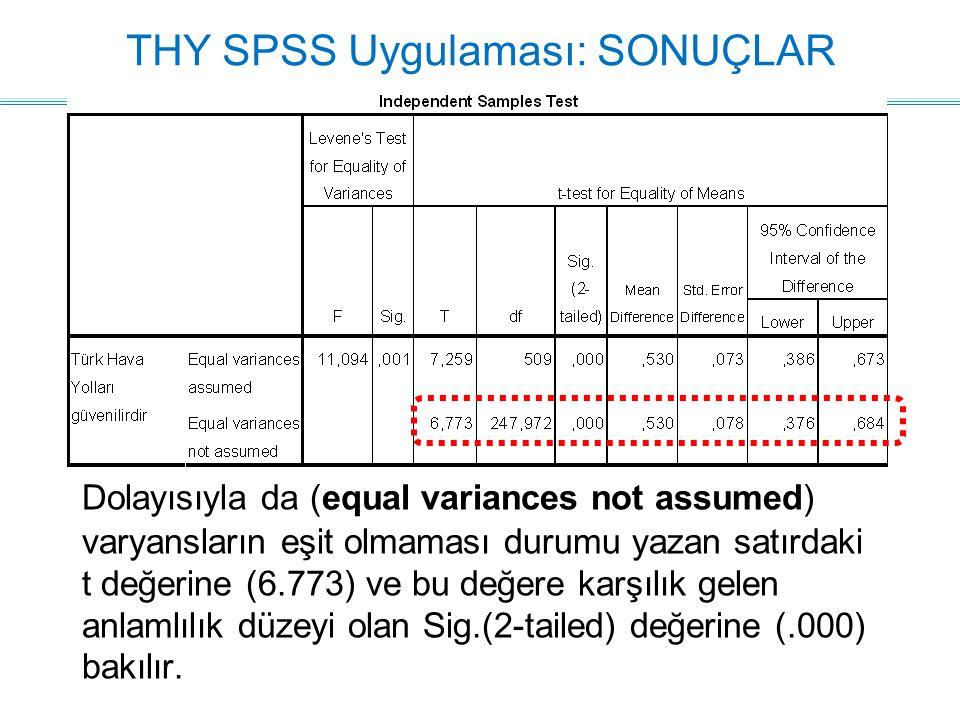 Dolayısıyla da (equal variances not assumed) varyansların eşit olmaması durumu yazan satırdaki t değerine (6.773) ve bu değere karşılık gelen anlamlılık düzeyi olan Sig.(2-tailed) değerine (.000) bakılır.