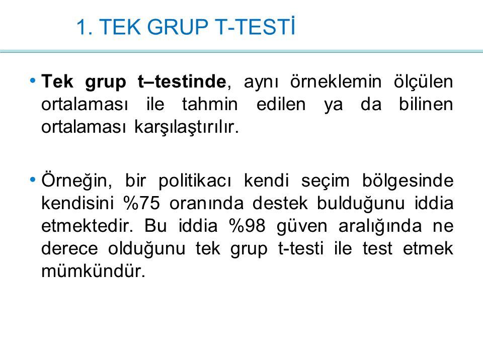 1. TEK GRUP T-TESTİ Tek grup t–testinde, aynı örneklemin ölçülen ortalaması ile tahmin edilen ya da bilinen ortalaması karşılaştırılır. Örneğin, bir p