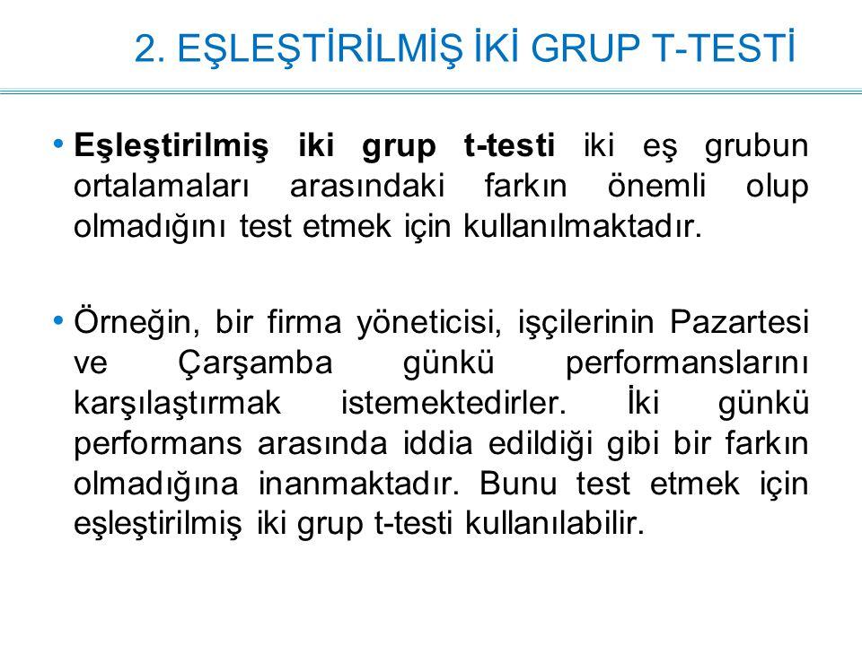 2. EŞLEŞTİRİLMİŞ İKİ GRUP T-TESTİ Eşleştirilmiş iki grup t-testi iki eş grubun ortalamaları arasındaki farkın önemli olup olmadığını test etmek için k
