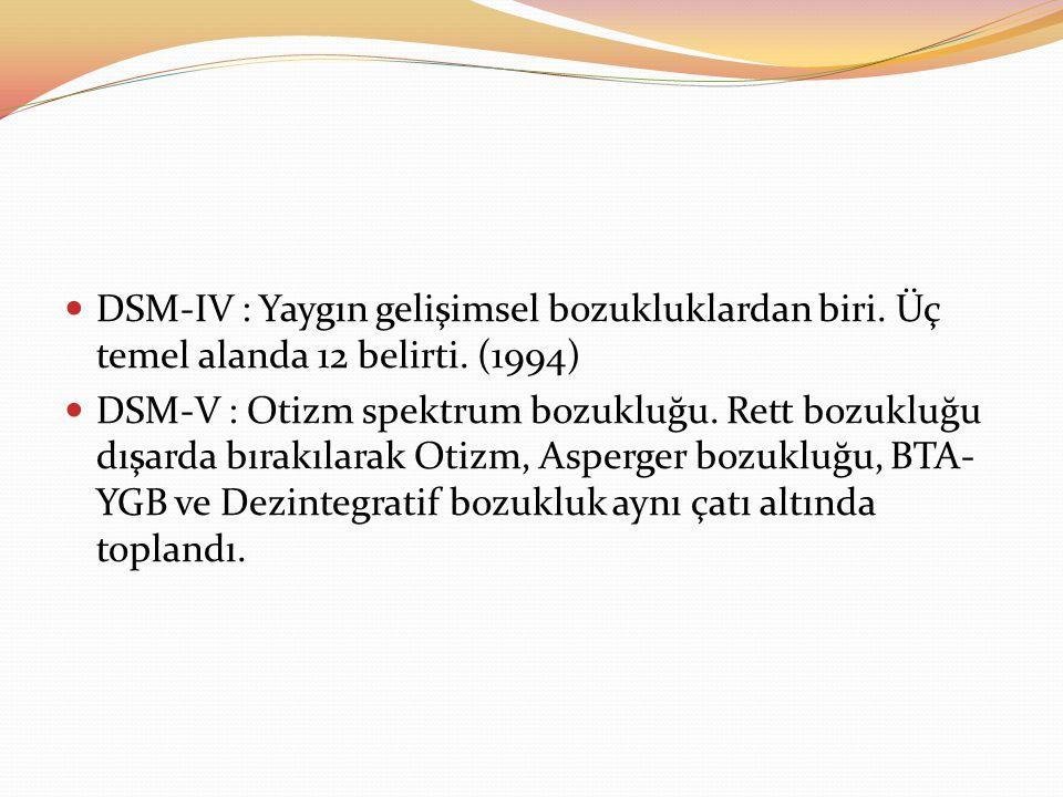 DSM-IV : Yaygın gelişimsel bozukluklardan biri. Üç temel alanda 12 belirti. (1994) DSM-V : Otizm spektrum bozukluğu. Rett bozukluğu dışarda bırakılara