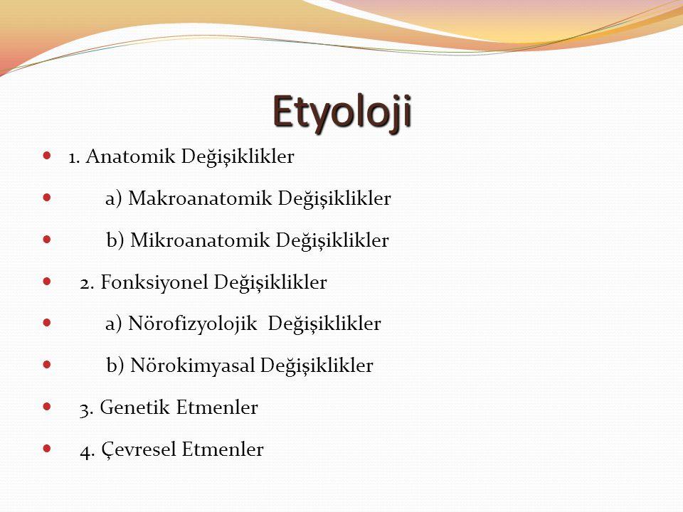 Etyoloji 1. Anatomik Değişiklikler a) Makroanatomik Değişiklikler b) Mikroanatomik Değişiklikler 2. Fonksiyonel Değişiklikler a) Nörofizyolojik Değişi