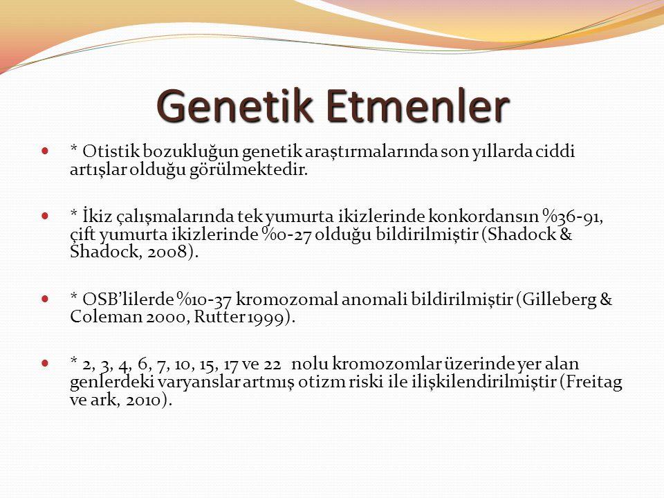 Genetik Etmenler * Otistik bozukluğun genetik araştırmalarında son yıllarda ciddi artışlar olduğu görülmektedir. * İkiz çalışmalarında tek yumurta iki