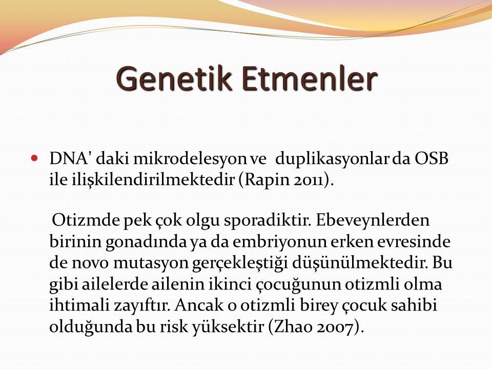 Genetik Etmenler DNA' daki mikrodelesyon ve duplikasyonlar da OSB ile ilişkilendirilmektedir (Rapin 2011). Otizmde pek çok olgu sporadiktir. Ebeveynle
