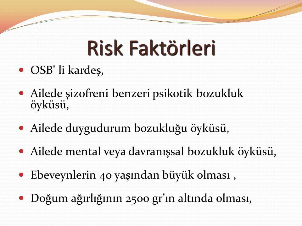 Risk Faktörleri OSB' li kardeş, Ailede şizofreni benzeri psikotik bozukluk öyküsü, Ailede duygudurum bozukluğu öyküsü, Ailede mental veya davranışsal