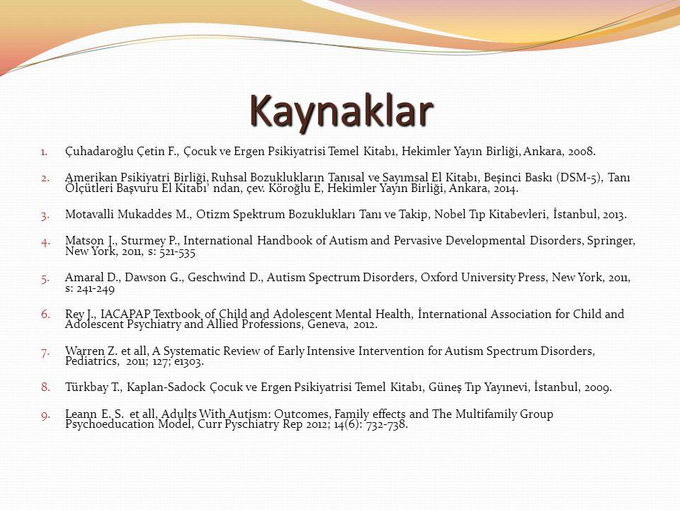 Kaynaklar 1.Çuhadaroğlu Çetin F., Çocuk ve Ergen Psikiyatrisi Temel Kitabı, Hekimler Yayın Birliği, Ankara, 2008. 2.Amerikan Psikiyatri Birliği, Ruhsa