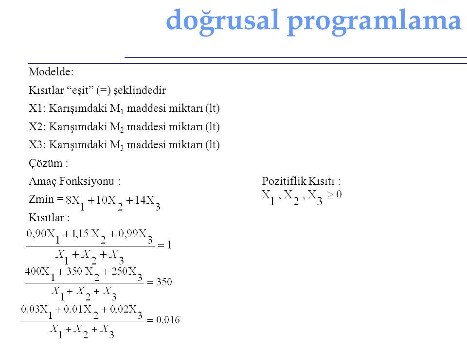 """doğrusal programlama Modelde: Kısıtlar """"eşit"""" (=) şeklindedir X1: Karışımdaki M 1 maddesi miktarı (lt) X2: Karışımdaki M 2 maddesi miktarı (lt) X3: Ka"""