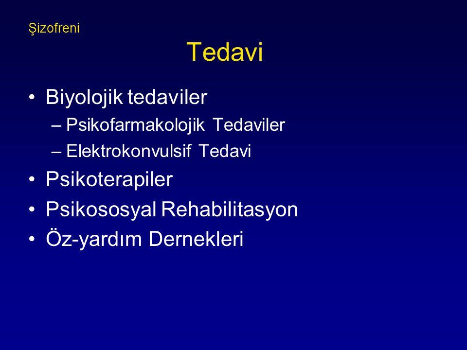 Şizofreni Tedavi Biyolojik tedaviler –Psikofarmakolojik Tedaviler –Elektrokonvulsif Tedavi Psikoterapiler Psikososyal Rehabilitasyon Öz-yardım Dernekleri