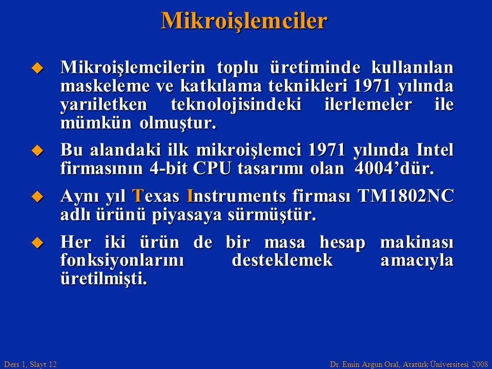 Dr. Emin Argun Oral, Atatürk Üniversitesi 2008 Ders 1, Slayt 12Mikroişlemciler  Mikroişlemcilerin toplu üretiminde kullanılan maskeleme ve katkılama