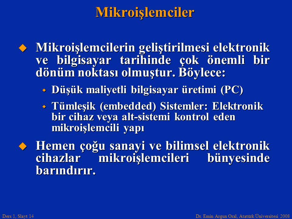Dr. Emin Argun Oral, Atatürk Üniversitesi 2008 Ders 1, Slayt 14Mikroişlemciler  Mikroişlemcilerin geliştirilmesi elektronik ve bilgisayar tarihinde ç