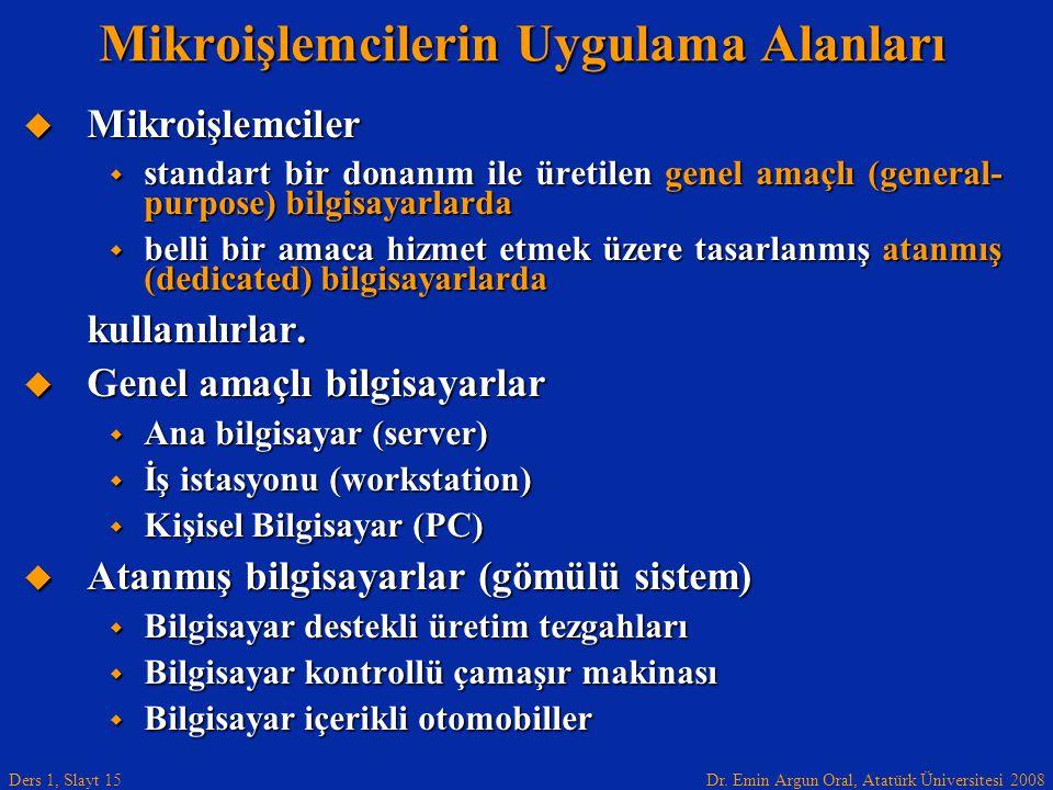 Dr. Emin Argun Oral, Atatürk Üniversitesi 2008 Ders 1, Slayt 15 Mikroişlemcilerin Uygulama Alanları  Mikroişlemciler  standart bir donanım ile üreti