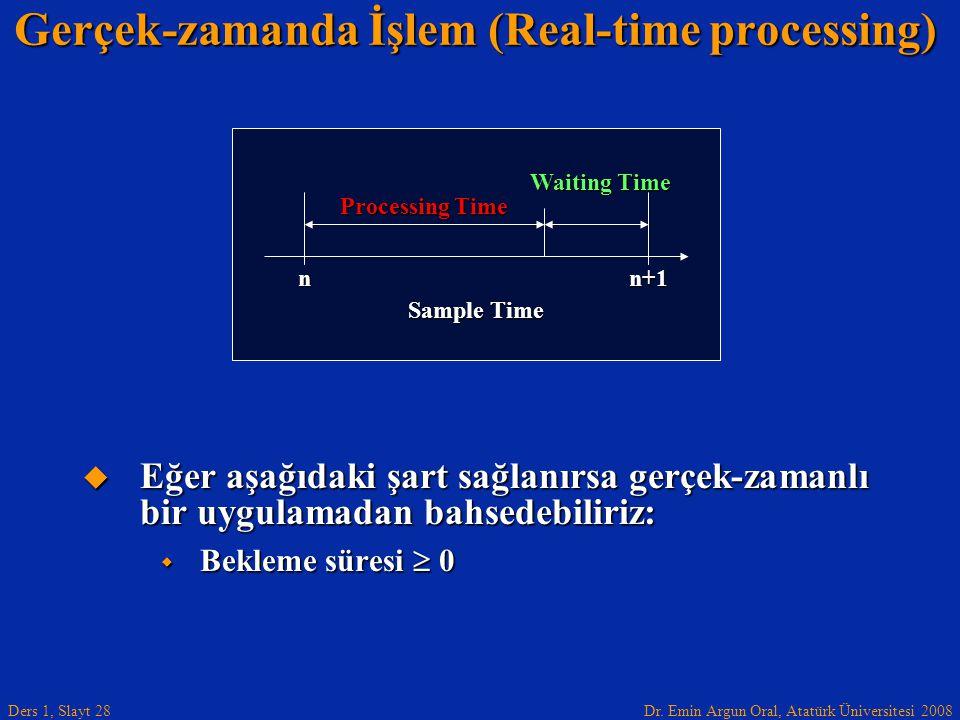 Dr. Emin Argun Oral, Atatürk Üniversitesi 2008 Ders 1, Slayt 28  Eğer aşağıdaki şart sağlanırsa gerçek-zamanlı bir uygulamadan bahsedebiliriz:  Bekl