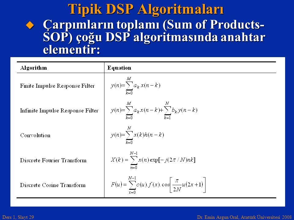 Dr. Emin Argun Oral, Atatürk Üniversitesi 2008 Ders 1, Slayt 29 Tipik DSP Algoritmaları  Çarpımların toplamı (Sum of Products- SOP) çoğu DSP algoritm