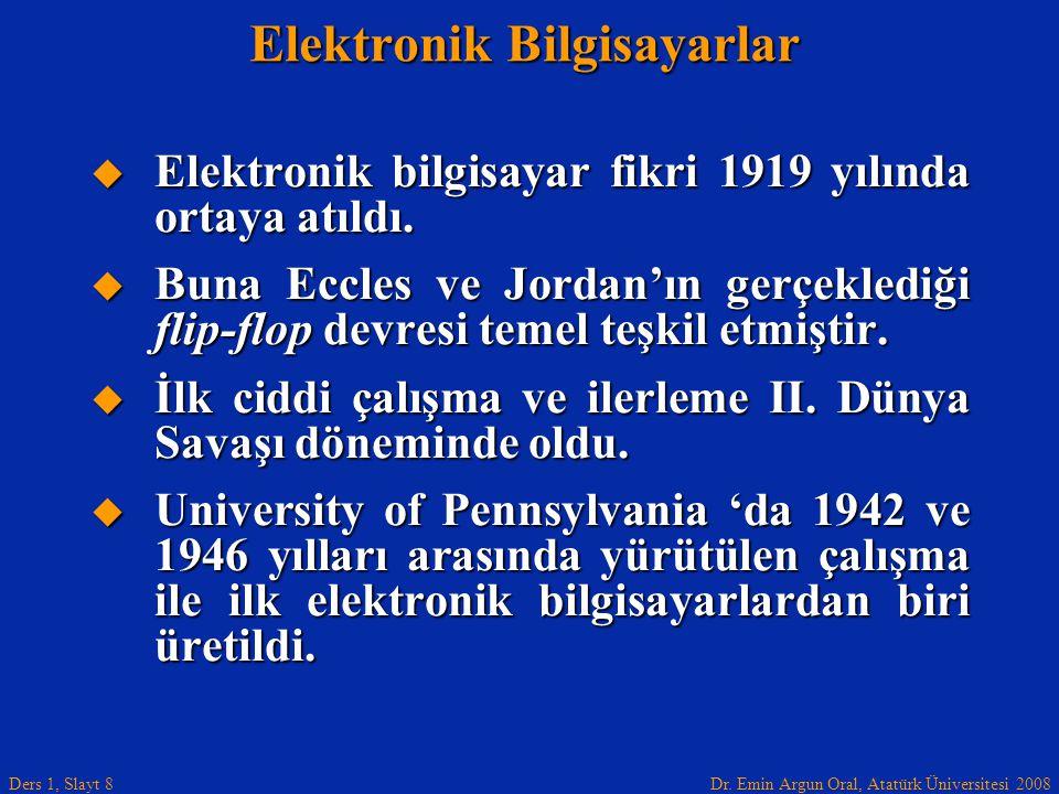 Dr. Emin Argun Oral, Atatürk Üniversitesi 2008 Ders 1, Slayt 8 Elektronik Bilgisayarlar  Elektronik bilgisayar fikri 1919 yılında ortaya atıldı.  Bu