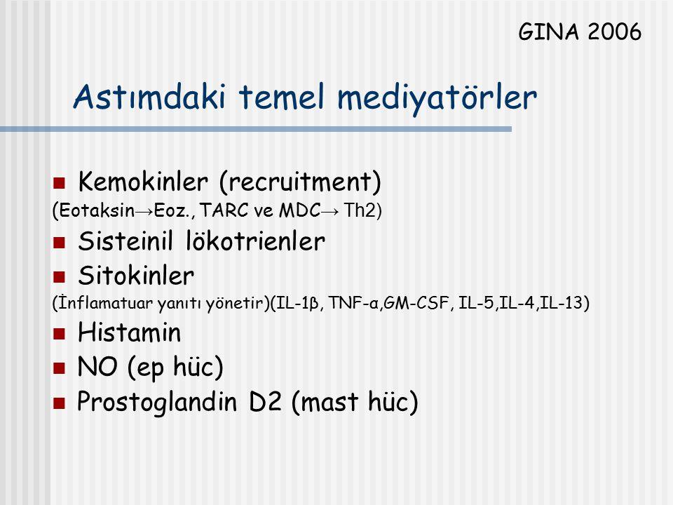 Astımdaki temel mediyatörler Kemokinler (recruitment) (Eotaksin → Eoz., TARC ve MDC → Th2) Sisteinil lökotrienler Sitokinler (İnflamatuar yanıtı yönet
