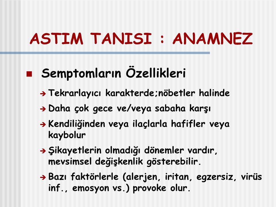 ASTIM TANISI : ANAMNEZ Semptomların Özellikleri  Tekrarlayıcı karakterde;nöbetler halinde  Daha çok gece ve/veya sabaha karşı  Kendiliğinden veya i