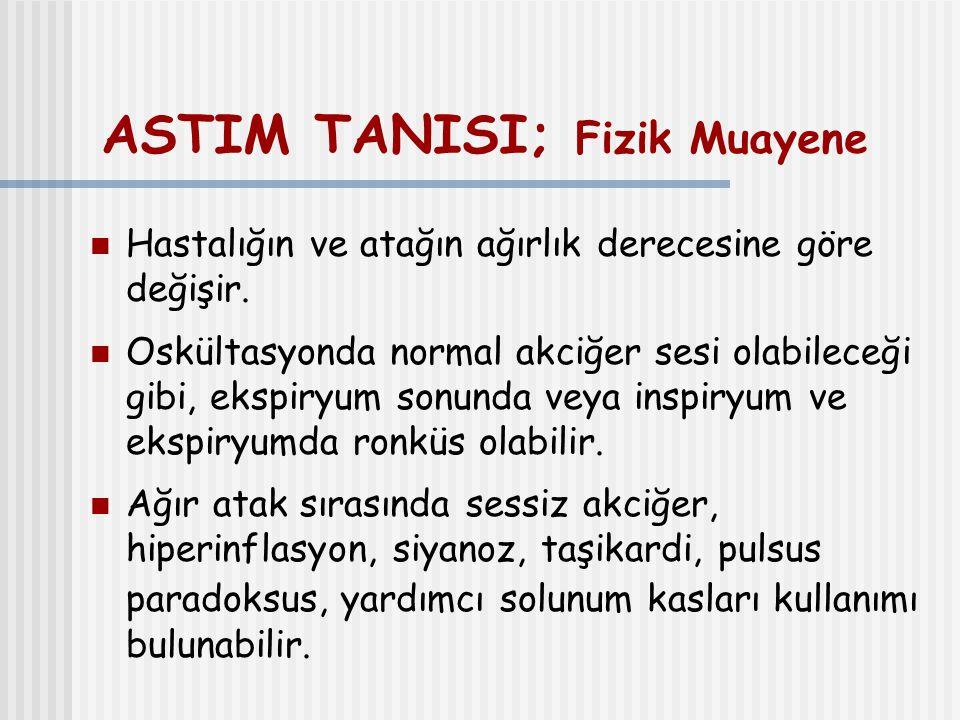 ASTIM TANISI; Fizik Muayene Hastalığın ve atağın ağırlık derecesine göre değişir. Oskültasyonda normal akciğer sesi olabileceği gibi, ekspiryum sonund