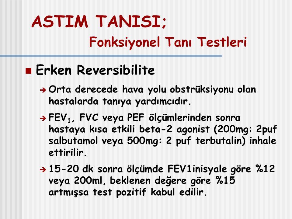 ASTIM TANISI; Fonksiyonel Tanı Testleri Erken Reversibilite  Orta derecede hava yolu obstrüksiyonu olan hastalarda tanıya yardımcıdır.  FEV 1, FVC v