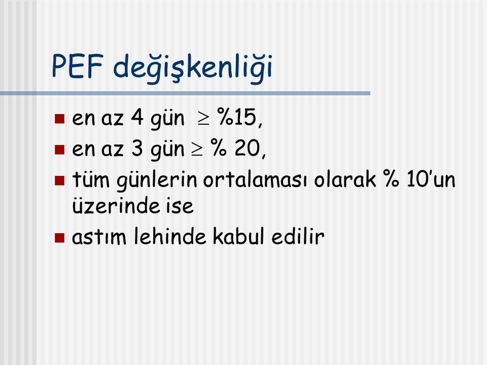 PEF değişkenliği en az 4 gün  %15, en az 3 gün  % 20, tüm günlerin ortalaması olarak % 10'un üzerinde ise astım lehinde kabul edilir
