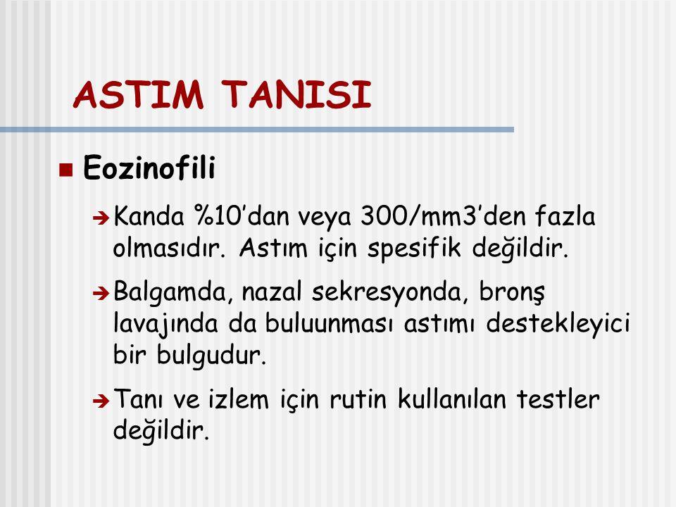 ASTIM TANISI Eozinofili  Kanda %10'dan veya 300/mm3'den fazla olmasıdır. Astım için spesifik değildir.  Balgamda, nazal sekresyonda, bronş lavajında