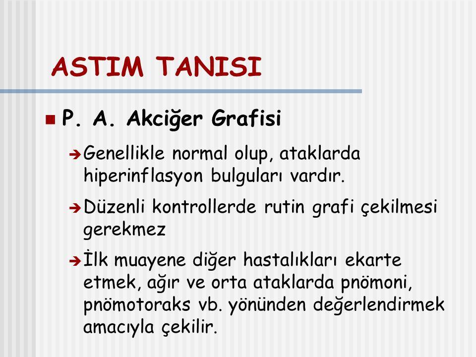 ASTIM TANISI P. A. Akciğer Grafisi  Genellikle normal olup, ataklarda hiperinflasyon bulguları vardır.  Düzenli kontrollerde rutin grafi çekilmesi g