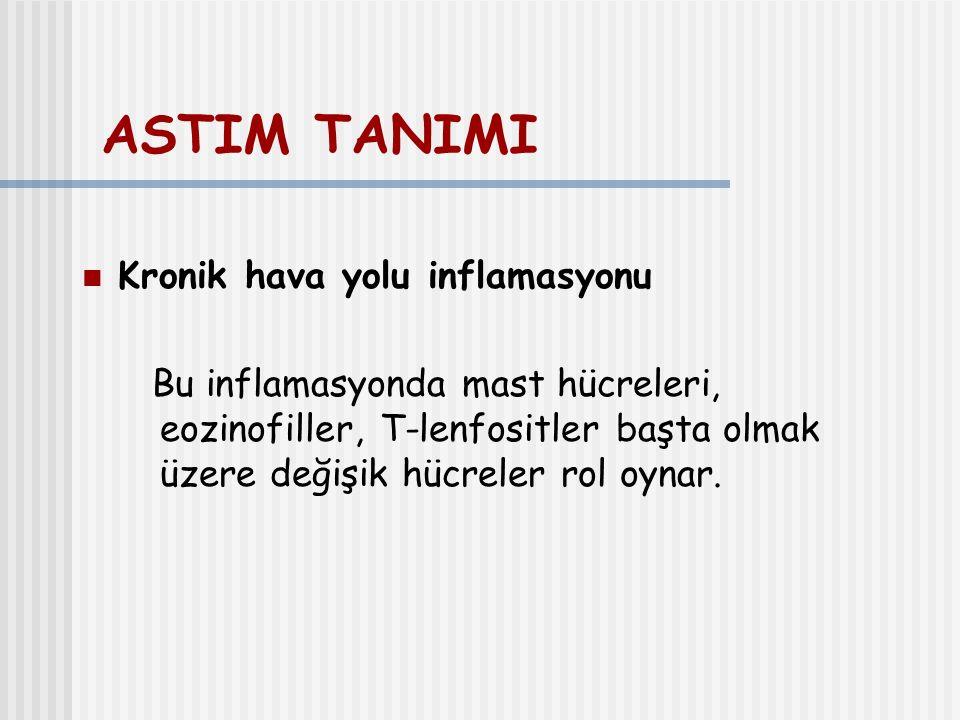 ASTIM TANIMI Kronik hava yolu inflamasyonu Bu inflamasyonda mast hücreleri, eozinofiller, T-lenfositler başta olmak üzere değişik hücreler rol oynar.