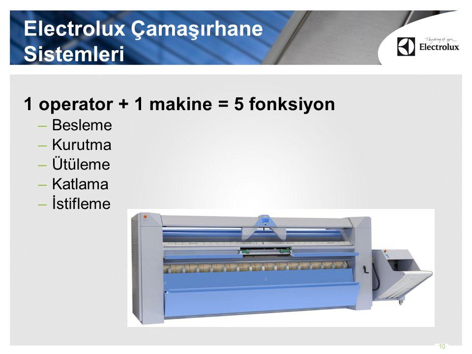 Electrolux Çamaşırhane Sistemleri 1 operator + 1 makine = 5 fonksiyon –Besleme –Kurutma –Ütüleme –Katlama –İstifleme 10