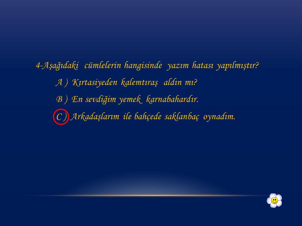 3- Aşağıdaki görsellerden hangisinde yazılım hatası yapılmamıştır? A ) B ) profösör uçurtma karnıbahar C )