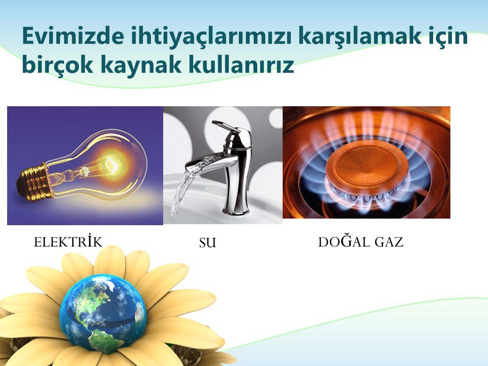 Evimizde ihtiyaçlarımızı karşılamak için birçok kaynak kullanırız ELEKTR İ K SU DO Ğ AL GAZ
