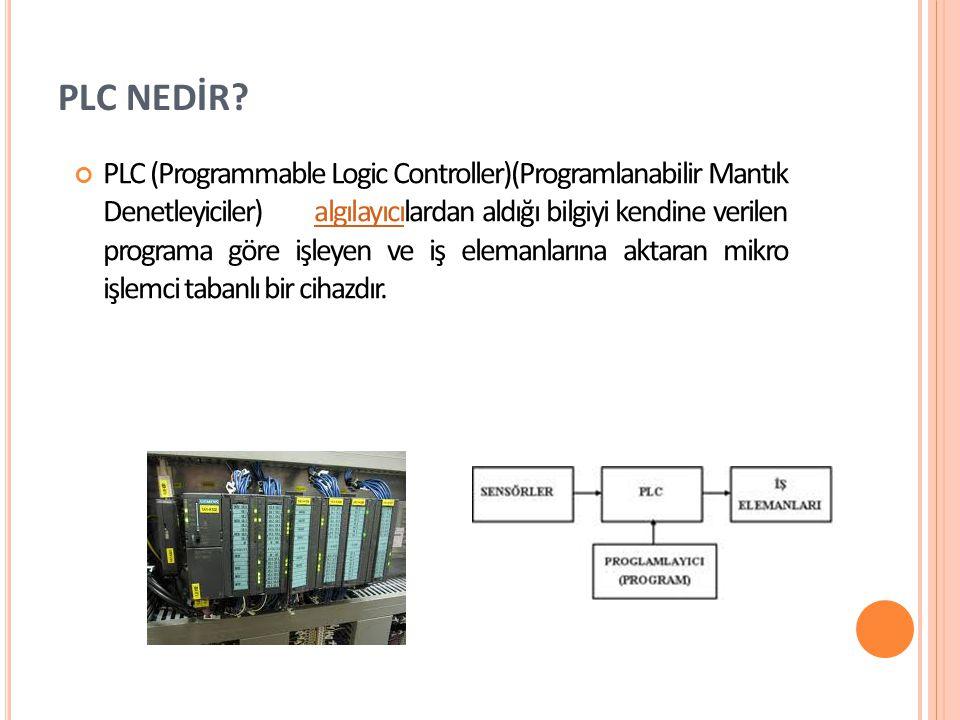 PLC NEDİR? PLC (Programmable Logic Controller)(Programlanabilir Mantık Denetleyiciler) algılayıcılardan aldığı bilgiyi kendine verilen programa göre i